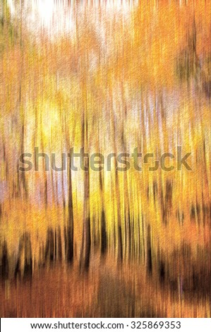 Digital pencil sketch from a photograph of an abstract forest with motion blur