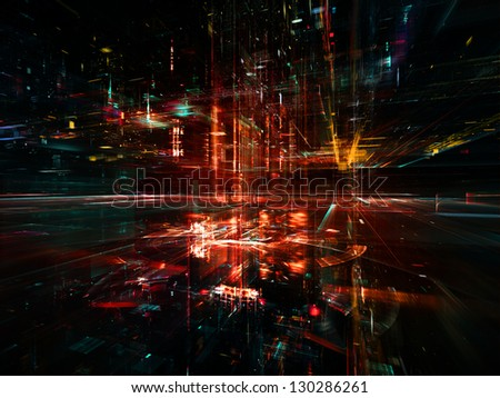 Digital Perspectives series. Backdrop composed of light grids and fractal elements and suitable for use in the projects on business, science, education and technology