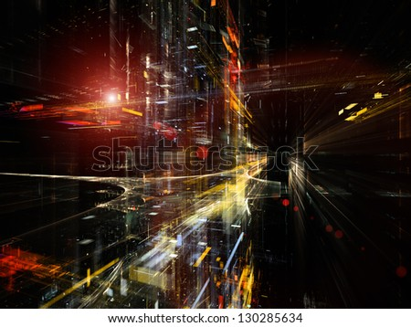 Digital Perspectives series. Composition of light grids and fractal elements with metaphorical relationship to business, science, education and technology - stock photo