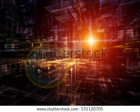 Digital Perspectives series. Creative arrangement of light grids and fractal elements to act as complimentary graphic for subject of business, science, education and technology