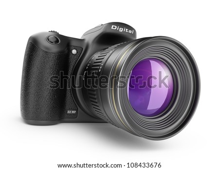 Digital photo camera. 3D Icon isolated on white background