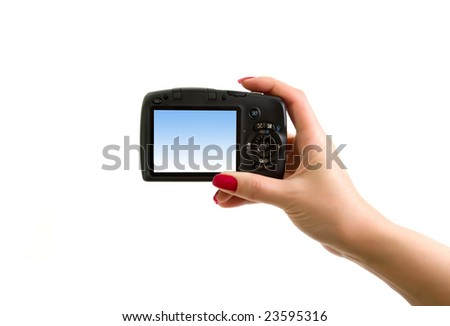 digital photo camera in hand