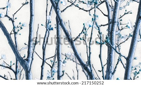 Stock Photo Digital photo manipulated nature detail of branches and flowers texture or background in cold tones and white background in unusual and original wide screen format.