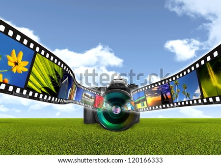 Digital Photography concept with digital single lens reflect camera capturing a filmstrip of images