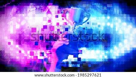 Digital pixel trophy on winner hand with background digital futuristic stadium stage for e-sport concept, illustration picture   Photo stock ©
