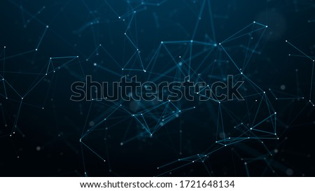 Digital plexus of glowing lines and dots. Abstract background. 3D rendering. Network or connection. 3d rendering.