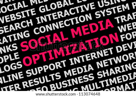 Digital poster social media optimization background concept isolated on black