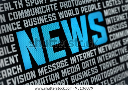 Digital poster with News headline and keywords on news theme. Selective focus on headline text.