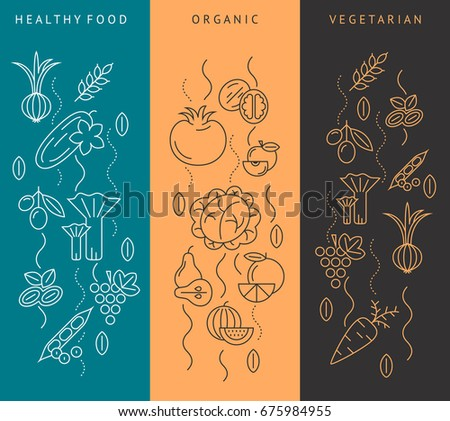 Digital raster brown and blue vegetable icons set infographics with drawn simple line art, onion squash pear orange apple grape carrot wallnut peas watermelon flower cabage, flat style #675984955