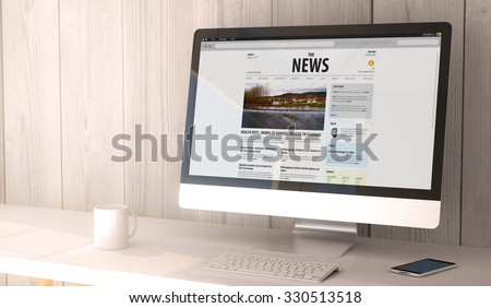 digital render generated workspace with computer and smartphone. News website on the screen. All screen graphics are made up.