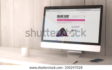 digital render generated workspace with computer and smartphone.online shop on the screen. All screen graphics are made up.