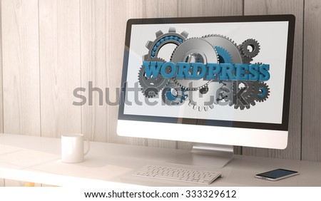 digital render generated workspace with computer and smartphone. Wordpress on screen. All screen graphics are made up.