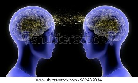 Digital render illustration of two people performing telepathy while looking at each other