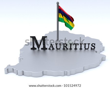 Digital render of country of Mauritius plus flag