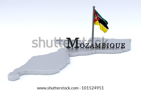 Digital render of country of Mozambique plus flag