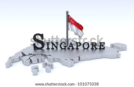 Digital render of country plus flag/Singapore Graphic - stock photo