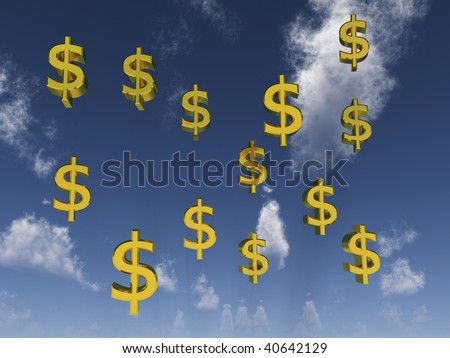 digital render of Dollar signs in front of a cloudy sky