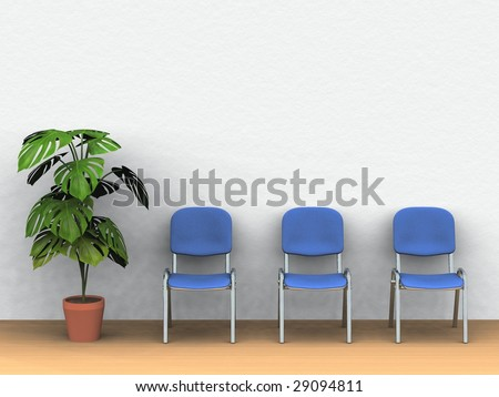 digital render of three chairs and a plant pot in front of a white wall