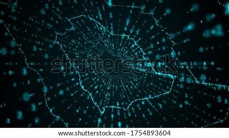 Digital Saudi Arabia map, Technology Tunnel, Digital lines