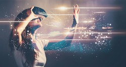 Digital Screen with young woman using a virtual reality headset
