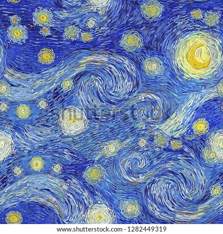Digital seamless painting pattern of glowing moon and starry sky abstract background in the style of impressionist paintings.