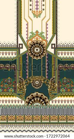 Digital Shirt Design Illustration  Artwork for textile print For Textile Branding with skill & green background