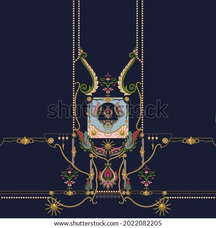 Digital Shirt Design Illustration Artwork for textile print For Textile Branding with skill  green background