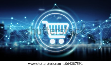 Digital shopping icons with connections on city background 3D rendering