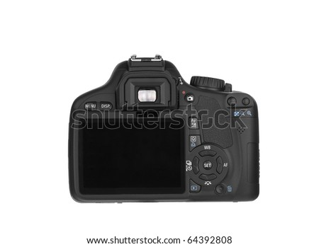 Digital Single Lens Reflex-back (clipping path) on white background