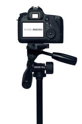 Digital single-lens reflex camera isolated on  white background