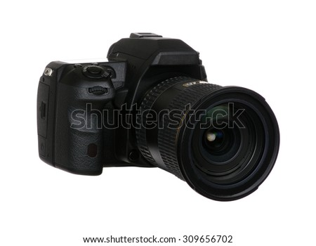 digital single lens reflex camera with lense isolated on white background #309656702