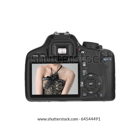 Digital Single Lens Reflex-in action (clipping path) on white background