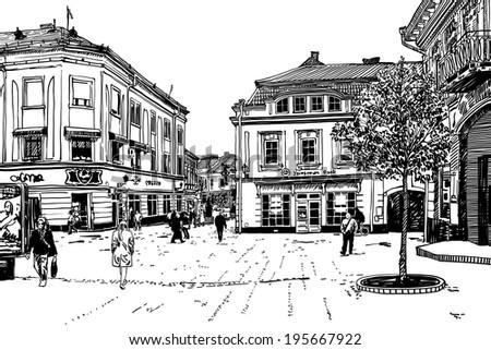 digital sketch vector black and white illustration of Uzhgorod cityscape, Ukraine, raster version