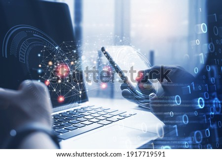 Digital software development, 4.0 technology, Data transfer, Big data, Internet of Things IoT concept. Man, programmer, software engineer using mobile smartphone with computer code