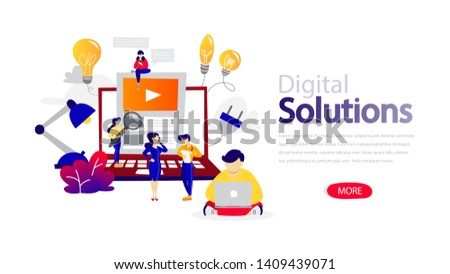 Digital solutions horizontal banner for your website. Header for web page. Responsive app design. Idea of creative solution and modern invention. Flat  illustration