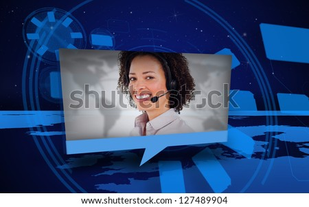 Digital speech box showing woman in headset coming from world map in blue