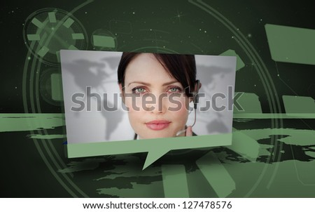 Digital speech box showing woman in headset coming from world map in green - stock photo