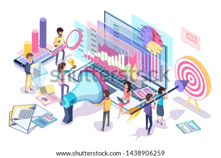 Digital statistics collecting and analyzing poster  illustration of different data about internet customers that helps make marketing strategy