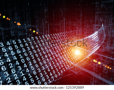 Digital Streams series. Abstract arrangement of numbers, lights and design elements suitable as background for projects on digital communications, data transfers and virtual reality