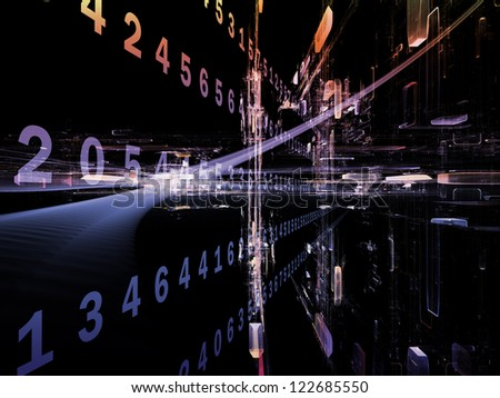 Digital Streams series. Artistic background made of numbers, lights and design elements for use with projects on digital communications, data transfers and virtual reality