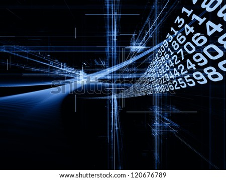 Digital Streams series. Creative arrangement of numbers, lights and design elements as a concept metaphor on subject of digital communications, data transfers and virtual reality