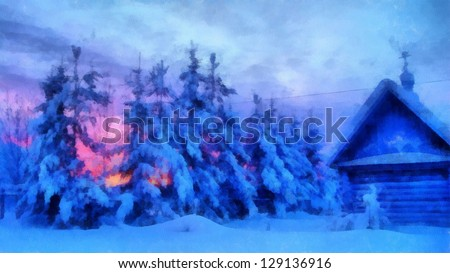 Digital structure of painting. Fir-trees covered with snow