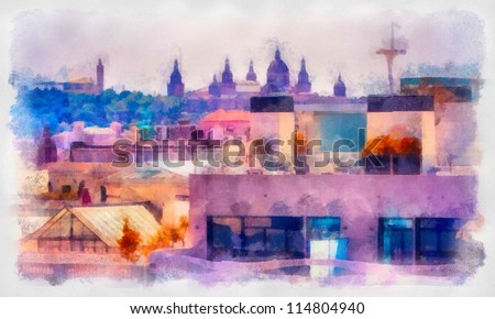 Digital structure of painting. Look with top on the city of Barcelona