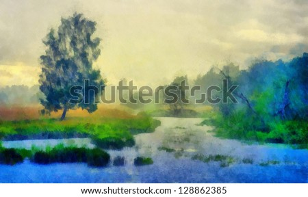 Digital structure of painting. Pond in the forest