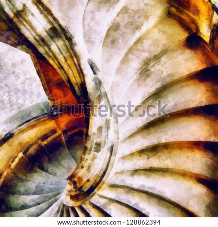 Digital structure of painting. Spiral staircase