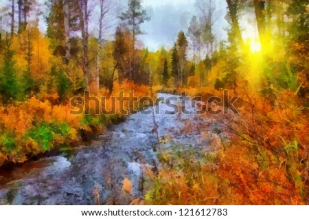Digital structure of painting. Sunny autumn landscape