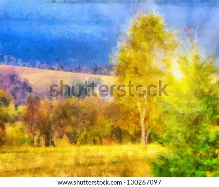 Digital structure of painting. Sunny landscape - Shutterstock ID 130267097