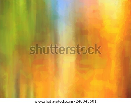 digital structure of painting.Sunny watercolor tropical landscape with beautiful waterfall and bright sun