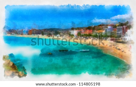 Digital structure of painting. T panorama view of city beach in Montenegro