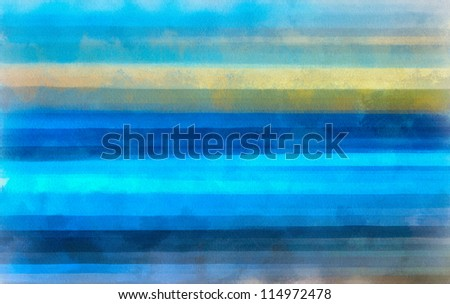 Digital structure of painting. Watercolor blue lines background